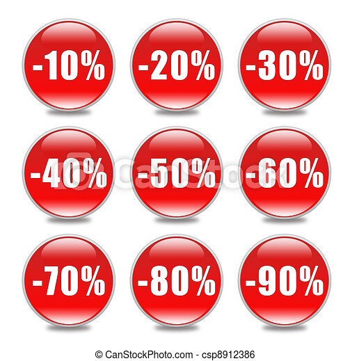 Discount Button in red - csp8912386