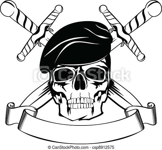 Skull in beret - csp8912575