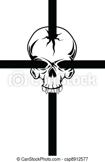 Skull with cross - csp8912577
