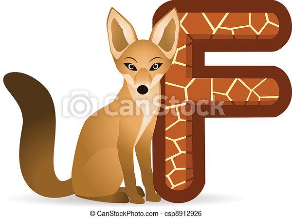 Fox with alphabet F - csp8912926