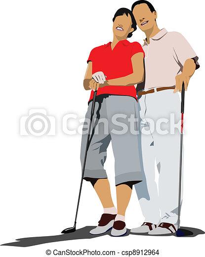 Golfer hitting ball with iron club. - csp8912964