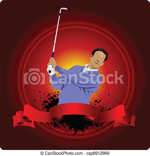 Golfer hitting ball with iron club. - csp8912969