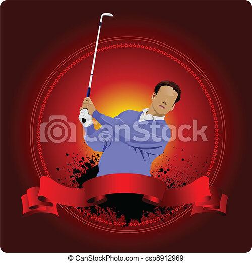 Golfer hitting ball with iron club. - csp8912969