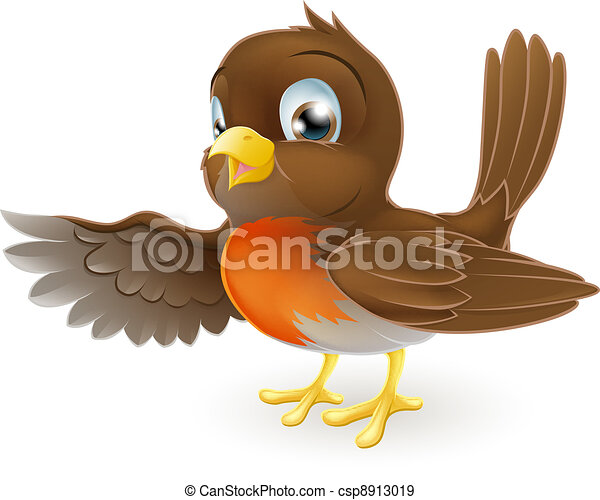 Robin Pointing Illustration - csp8913019
