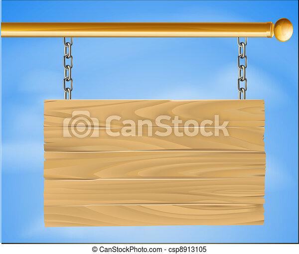 Wooden hanging sign - csp8913105