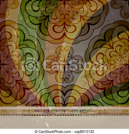 vector spring retro seamless floral pattern on abstract background with grungy blots, old paper texture, lacy frame for your text - csp8913132