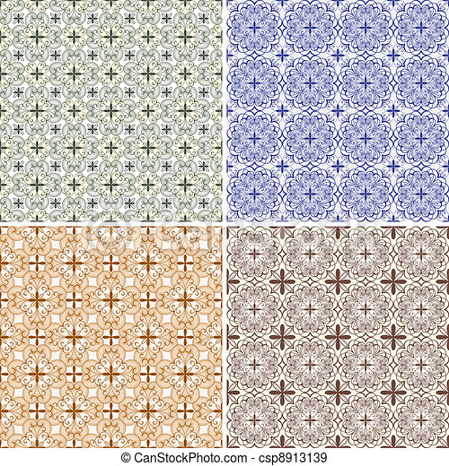 set with four vector seamless floral spring patterns - csp8913139