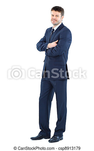 Full body portrait of happy smiling business man, isolated on white background - csp8913179