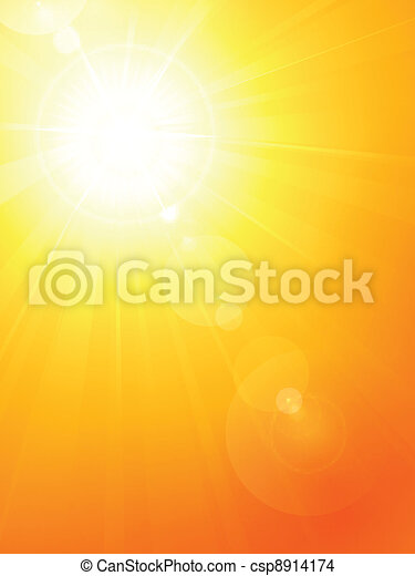 Vibrant hot summer sun with lens fl - csp8914174
