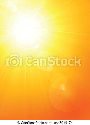 Vibrant hot summer sun with lens fl - csp8914174