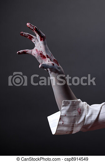 Creepy zombie hand, extreme body-art - csp8914549