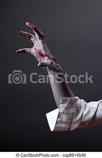 Creepy zombie hand, extreme body-art  - csp8914549