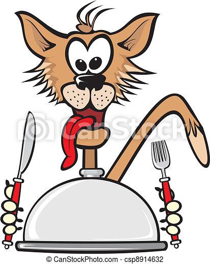 Illustrazioni vettoriali di cena gatto affamato for Gatto clipart