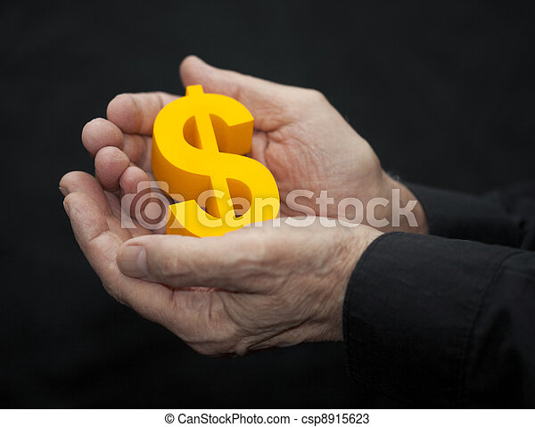 Old hands with dollar symbol - csp8915623