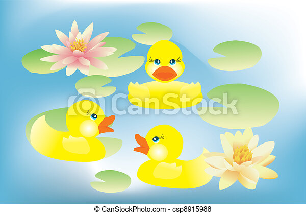 Ducklings swimming in lake with lotus flowers - csp8915988