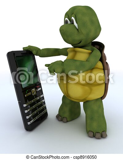 tortoise with a smart phone - csp8916050