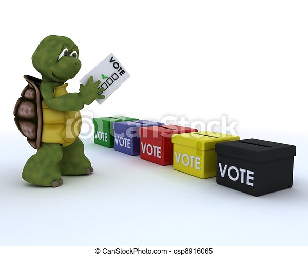 tortoise casting a vote in election - csp8916065