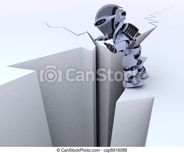 robot on a cliff edge - csp8916088