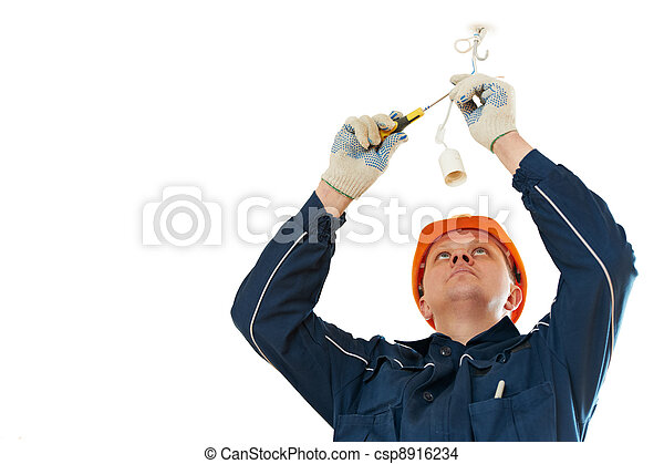 Electrician at cable wiring work - csp8916234