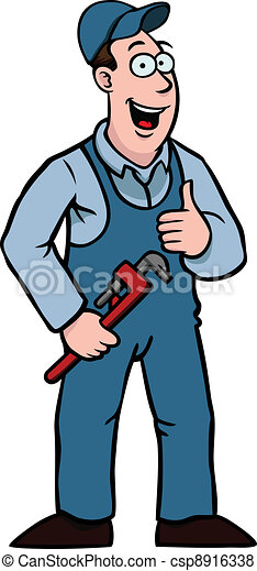 Plumber with thumbs up and wrench - csp8916338