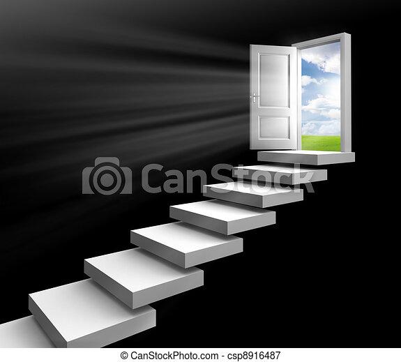 day light in room through door - csp8916487