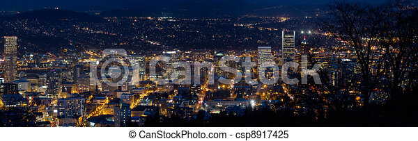 Portland Oregon Downtown Cityscape at Dusk - csp8917425