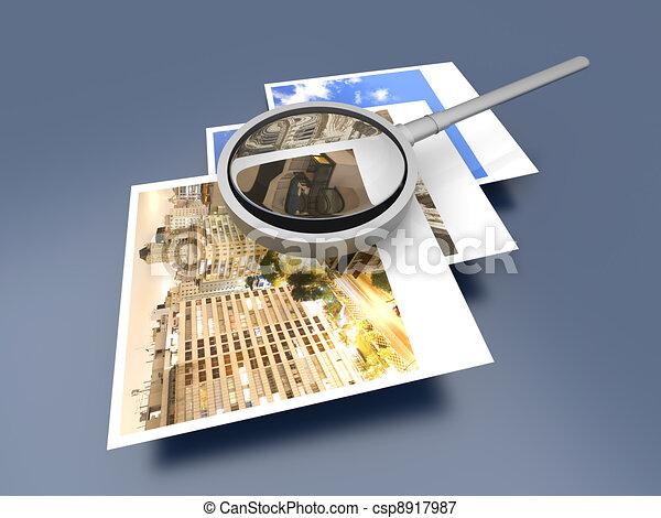 Examining Instant Photos - csp8917987