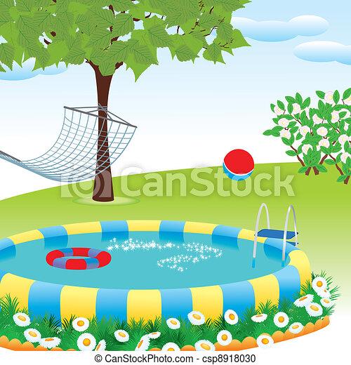 Clipart vecteur de ext rieur piscine jardin ou parc for Prix piscine 3x5