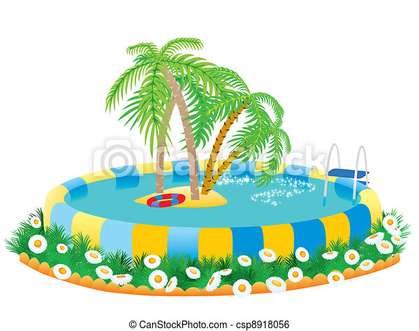 outdoor pool and tropical island - csp8918056