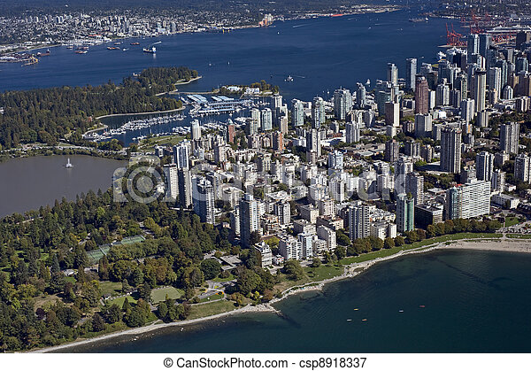 Vancouver Aerial - West End and Coa - csp8918337