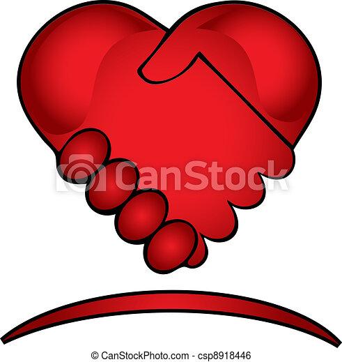 Hands shake creative logo - csp8918446
