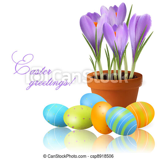 Fresh spring flower with Easter egg - csp8918506