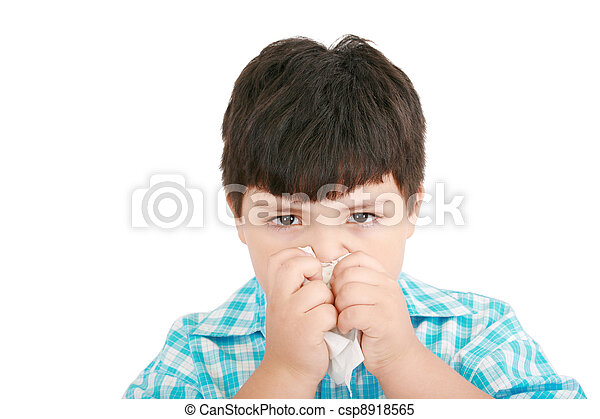 Human child cold flu illness tissue blowing nose  - csp8918565