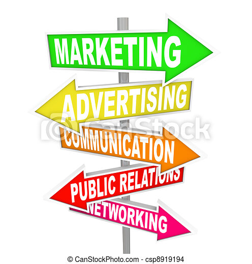 Marketing Advertising Communication on Arrow SIgns - csp8919194