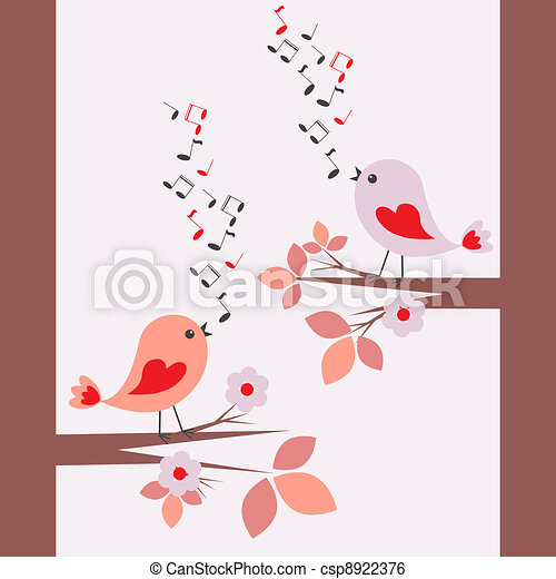 Cute birds singing - csp8922376