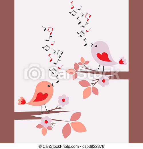 Cute birds singing - csp8922376