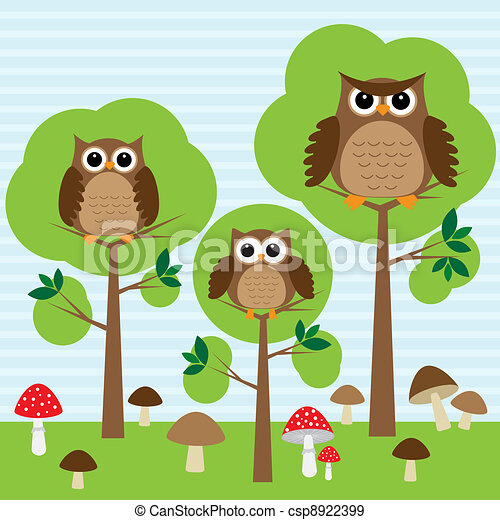 owls in forest - csp8922399