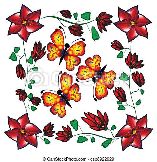 butterflies on flowers - csp8922929