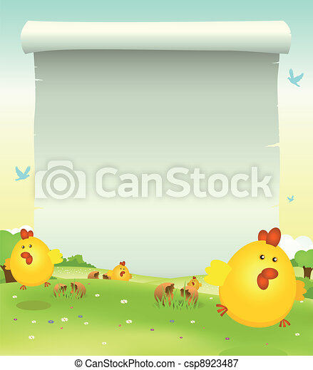 Spring Easter Chicken Background - csp8923487