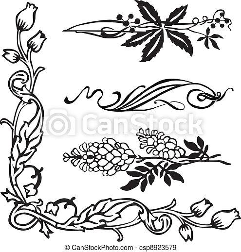 Art Nouveau corners and dividers - csp8923579