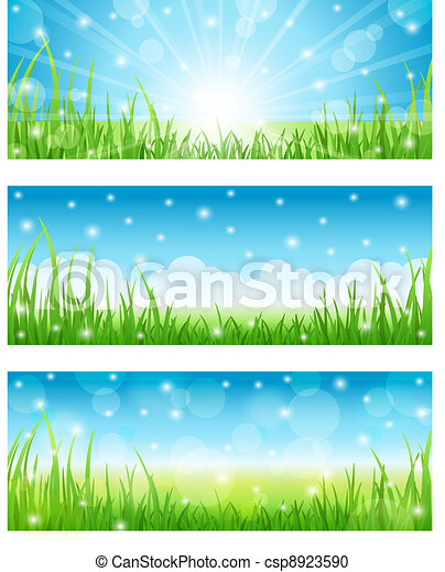 Set of Summer Abstract Background  - csp8923590