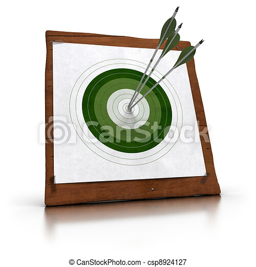green target and 3 arrows hitting the center, the target is fixed onto a wooden plank by using plastic tape. there is reflection on the white floor - csp8924127