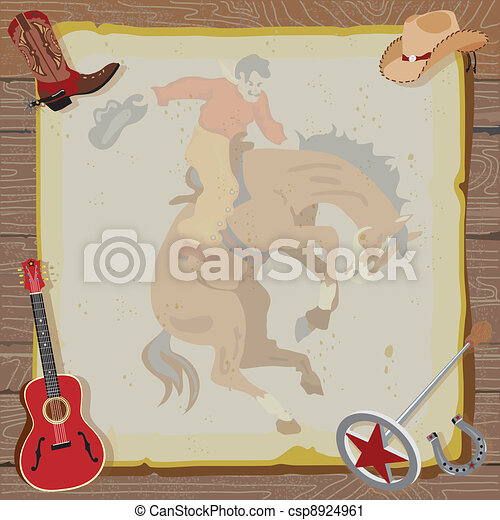 Western Rodeo Cowboy Invitation - csp8924961