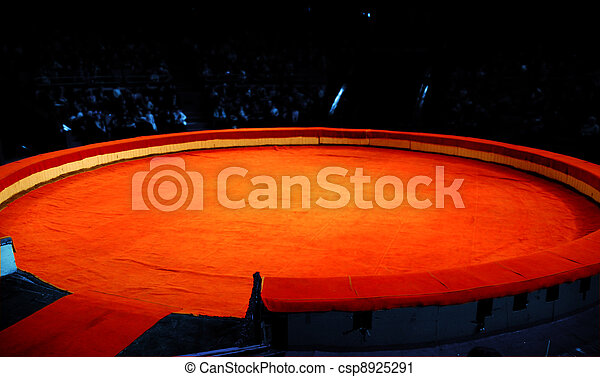 Scene of circus from a red material before presentation - csp8925291
