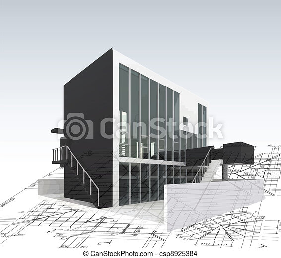 Architecture model house with plan and blueprints. Vector - csp8925384