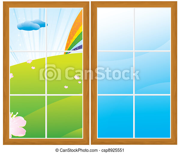 Vector Clip Art of windows - spring green meadow and rainbow after ...