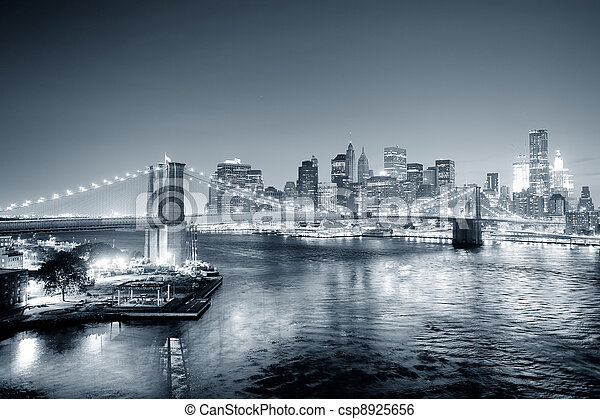 New York City Manhattan downtown black and white - csp8925656