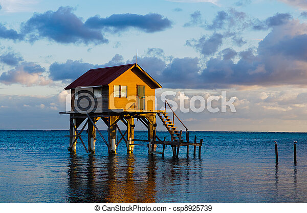 Home on the Ocean in Ambergris Caye Belize - csp8925739