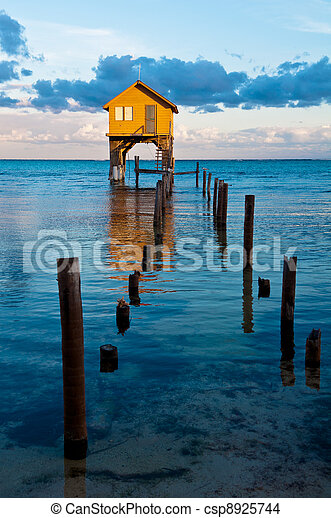 Home on the Ocean in Ambergris Caye Belize - csp8925744