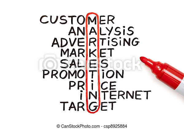 Marketing chart with red marker - csp8925884